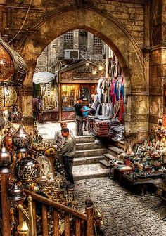 Khan Khalili Market, EGYPT,we visited this bazaar  in Cairo,I called a taxi which turned out to have rust holes on the floor that you could see the road through. Sister and husband were not impressed.