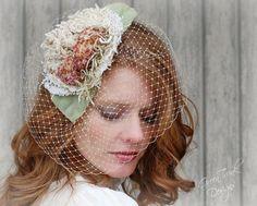 Spring Bird Cage Veil / Bridal Head Piece / by GreenTrunkDesigns