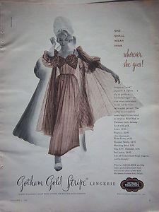 1954 Vintage Gold Stripe Womens Lingereie Peignoir Gown Shall Wear Mink Ad | eBay