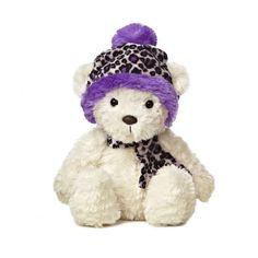 "9"" Aurora Plush White Teddy Bear Purple Leopard Holiday Stuffed Animal Toy 09837 #Aurora"