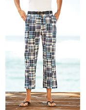 Our cropped pants for women feature a lovely madras-patch design in a blue plaid.