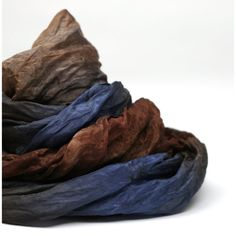 Hand Dyed Silk Scarf in Blue and Brown by ZMFelt on Etsy