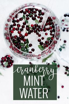 A beautiful twist on serving water. Impress your guests by presenting this infused cranberry mint water in place of plain old tap water. Dark cranberries, bright mint, and crisp ice create an unforgettable water. || Oh So Delicioso