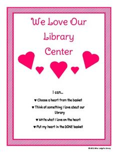 Library Valentine Center Sign