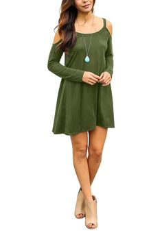 Army Green Cold-Shoulder Tunic Dress – Lookbook Store