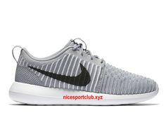 new styles 3afea 5d92b Chaussures Homme Nike Roshe Two Flyknit Prix Pas Cher Gris  Noir Blanc-844833 002