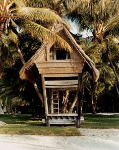 The Bali Hut decorates the garden at the Moorings Village, a cottage-rental resort on Islamorada, Florida Keys