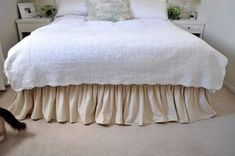 Queen size linen bed skirt 2 colors Ruffled bed skirt