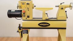 The Powermatic lathe is a full-featured shortbed version of the popular Model Woodworking Projects That Sell, Woodworking Lathe, Woodworking Magazine, Woodworking Classes, Popular Woodworking, Lathe Tools, Woodworking Machinery, Woodworking Ideas, Wood Turning Lathe