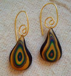 PENDIENTES Negros o turquesa con dorado y colores / Polimer Clay Earrings  Arcilla polimérica