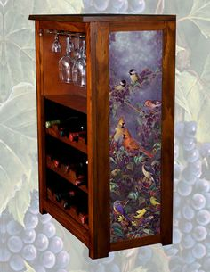 Jessica Model Wine Cabinet With Licensed Artwork By Samm Timm Giclee  Printed On The Side Panels