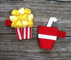 Popcorn and Soda Pop Ribbon Sculpture Hair Clip Set  by leilei1202, $6.25