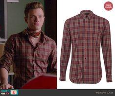 Kurt's brown plaid shirt on Glee.  Outfit Details: http://wornontv.net/44057/ #Glee