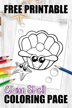 There's something special about the pearl inside of a giant clam. Click now to add this cute clam clip art coloring page to your ocean animal collection. Color the soft seashell purple, pink or whatever color your heart desires. Kids of all ages including preschoolers and toddlers will be lined up at the printer to get their copy of this free printable clam seashell coloring page! #seashellcoloringpage #clamcoloringpage #SimpleMomProject Sea Creatures Crafts, Sea Animal Crafts, Animal Crafts For Kids, Mandala Coloring Pages, Animal Coloring Pages, Coloring Books, Drawing Clipart, Drawing Templates, Easy Diy Crafts