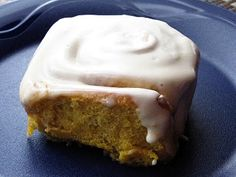 fall pumpkin recipe roundup...pumpkin cinnamon rolls. It will be difficult to find some of these ingredients here.... but it's worth a shot