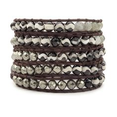Chan Luu - Black White Agate Mix Wrap Bracelet on Natural Dark Brown Leather, $325.00 (http://www.chanluu.com/wrap-bracelets/black-white-agate-mix-wrap-bracelet-on-natural-dark-brown-leather/)