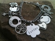 Hand Stamped Jewelry Charm Bracelet Personalized Mother Grandmother