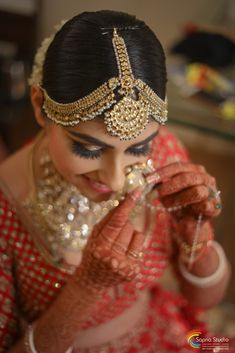 """Photo from album """"Wedding photography"""" posted by photographer Sapna Studios Indian Wedding Photography Poses, Photography Couples, Tikka Designs, Mang Tikka, Nose Ring Stud, Lehenga Wedding, Photographic Studio, Wedding Preparation, Bridal Looks"""
