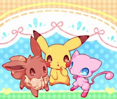 Pokemon (From left to right) Eevee, Pikachu, Mew Mew And Mewtwo, Pokemon Eevee, All Pokemon, Cute Pokemon, Fanart Pokemon, Eevee Evolutions, Pokemon Stuff, Pokemon Images, Pokemon Pictures