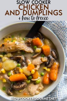 This Slow Cooker Chicken and Dumplings satisfies all your cravings for comfort food without spending hours in the kitchen! Make a batch now and one for later! This Slow Cooker Slow Cooker Freezer Meals, Best Slow Cooker, Crockpot Dishes, Slow Cooker Soup, Slow Cooker Recipes, Crockpot Recipes, Soup Recipes, Gourmet Recipes, Health