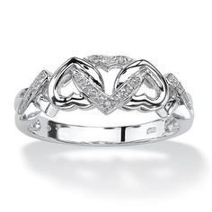Diamond Accent Interlocking Hearts Promise Ring in Platinum over Sterling Silver - Size 9 - Walmart.com