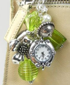 Bag Bling - Lime Green & Silver Beads and Charms - Purse Jewelry Watch Face Included