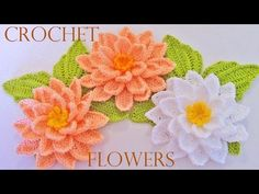 Como tejer flores fácil y rápido en una sola tira con hojas - How to make knitting crochet flowers - YouTube