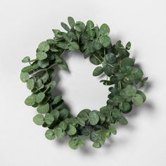Mini Faux Eucalyptus Wreath - Hearth & Hand™ With Magnolia : Target Eucalyptus Garland, Seeded Eucalyptus, Eucalyptus Leaves, Eucalyptus Candle, Front Porch Signs, Lavender Wreath, Circle Shape, Natural Texture, How To Make Wreaths