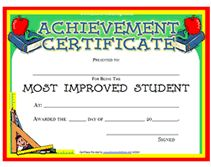 most improved award certificate  most improved certificates - Papel.lenguasalacarta.co