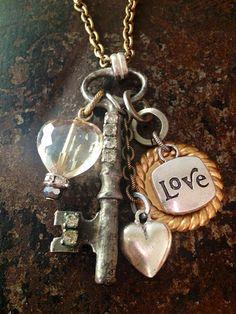 Love Vintage Key Necklace by BelleVia on Etsy