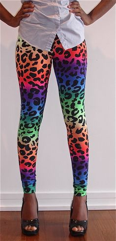 RAINBOW LEOPARD (LISA FRANK) LEGGINGS-- oh goodness. I feel like I need these. Pretty positive I'd never wear them anywhere outside my house... but I would definitely rock them at home.