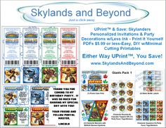 UPrint™ & Save: Skylanders Personalized Invitations & Party Decorations w/Less Ink - Print it Yourself PDFs - $5.99 or less - Easy, DIY w/Minimal Cutting Printables - Either Way UPrint™, You Save! -->> Only at www.skylandsandbeyond.com