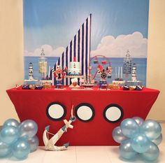 Create that sail in yellow and white stripes Boys 1st Birthday Party Ideas, 1st Boy Birthday, Birthday Parties, Baby Shower Themes, Baby Boy Shower, Sailor Baby Showers, Sailor Party, Nautical Party, Decoration