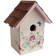 This red cedar-topped birdhouse sports a festive pastel bouquet floral design. Hand-painted non-toxic cream finish. Style # at Lamps Plus. Decorative Bird Houses, Bird Houses Painted, Painted Birdhouses, Birdhouse Designs, Birdhouse Ideas, Decoupage, Style Pastel, Pastel Bouquet, Peony Print
