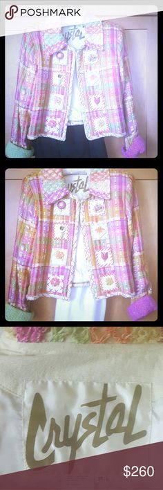 """Wearable Art: """" CRYSTAL HAND WOVENS"""" jacket Orignally found in high-end San Francisco boutique.  This amazing handwoven jacket w brings compliments.  Very good condition.  Looks great with like colors, white , black, other dark colors.  Sleeves can be worn rolled up or not as photos show.  Fully lined.  Wear open (No closure). Shoulder seem to bottom of front about 20 1/4 inches.  Armpit across front to other armpit about 20.1/2."""" Crystal Handwovens Jackets & Coats Blazers"""