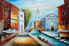 """Framed Online Paintings Mediterranean Sea Oil Painting Italy Venice, Size: 36"""" x 24"""", $112. Url: http://www.oilpaintingshops.com/framed-online-paintings-mediterranean-sea-oil-painting-italy-venice-1956.html"""