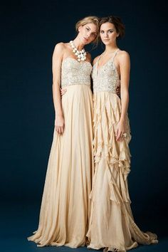 Lovely long dresses with glittery tops and flowy champagne-colored bottoms #wedding #bridesmaids #gold #blacktie #dress