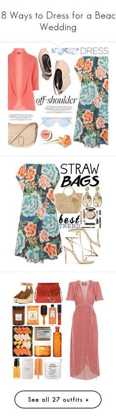 """18 Ways to Dress for a Beach Wedding"" by polyvore-editorial ❤ liked on Polyvore featuring beachwedding, waystowear, Mara Hoffman, Fever Fish, 3.1 Phillip Lim, Garrett Leight, LORAC, contestentry, fashionset and offshoulderdress"