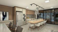 As cores claras do projeto em contraste com a madeira trazem um ar contemporâneo ao projeto integrado com o jantar #inspiration #architecture #decoration #arquitetura #designinteriores #details #GParquitetura