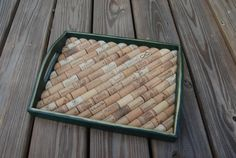 Wine Cork Tray Green with Gold Trim by GulfCoasters on Etsy, $34.99