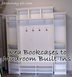 supply list in case you want to recreate any of this:  ikea Billy bookshelves (x2)  ikea Billy bookshelf  ikea Benno entertainment center  ikea Hemnes shoe organizer (4 drawer one)  4 sheets of beadboard  liquid nails  caulk