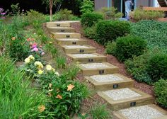Classic and inexpensive.  4 x 4 railroad ties, hard gravel and lights make an attractive set of steps to make a hilly landscape managable.