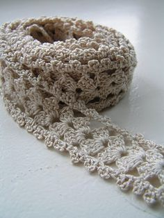 crocheted lace - can be a lovely adding to anything you wear, a belt or if put together side by side, it can become a scarf, a stole, an afghan or a bed spread!! I like it!.