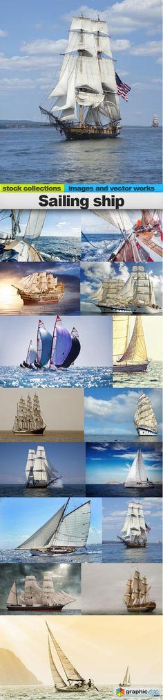 Sailing ship 15 x UHQ JPEG  stock images