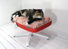 upcycled suitcase pet bed with pedestal base from Etsy