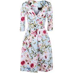 """- met V-hals - met bloemenpatroon - met decoratieve knoop op de voorkant en zomen - met rits aan de achterkant - ¾ mouwen - lengte: ongeveer 106 cm  De """"Flower Dress"""" van Voodoo Vixen geeft een erg kleurrijke indruk. Het kledingstuk met V-hals en bloemenpatroon heeft een decoratieve knoop op de voorkant en op de zomen. De lengte van de jurk is ongeveer 106 cm."""
