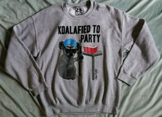 Riot Society Grey Koalafied to Party Crew Sweatshirt Sz L #RiotSociety #SweatshirtCrew