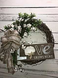 Farmhouse Wreath for Interior Décor or on a Covered Porch, Farmhouse Décor, Farmhouse Decorative Wreath, Decorative Wreath, Rustic Cotton Boll Stem Wreath, Fixer Upper Style Décor, Rustic Style Wreath, Everyday Farmhouse Style Wreath, Everyday Wreath, Home Decor