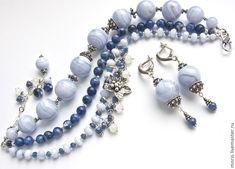 """Купить Браслет """"Саприна"""" сапфирин, сапфир, серебро... - голубой, браслет из камней, браслет с подвесками"""