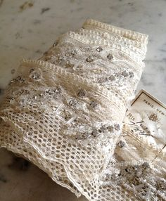 antique French lace trim with rhinestones and beads from histoire ancienne.        www.etsy.com/shop/histoireancienne